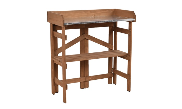 ... Metal Top Wooden Potting Bench Garden Planting Workstation Shelves