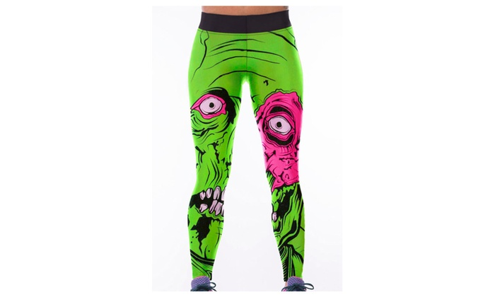 Women's Green Monster Print High Waist Yoga Pants – one size