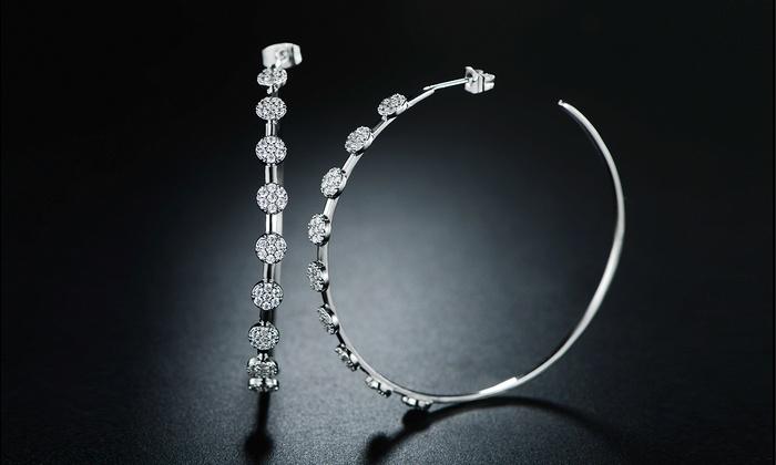 Barzel Sleek Flower Hoop Earrings Made With Swarovski Crystal