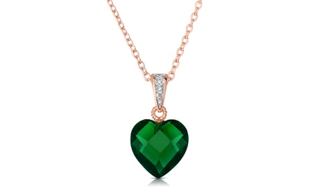 Sterling Silver Green Cubic Heart-shape Necklace 2f3354b0-f2b0-4e05-aef0-ba5ce803f23d