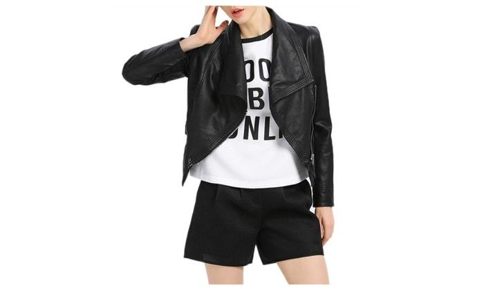 Women's Lapel Long Sleeve Slim PU Coat Tunic Faux Leather Rider Jacket