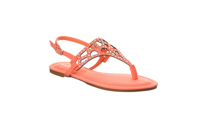 Riverberry Women's 'Cope' Rhinestone-detailed T-strap Sandals, Melon