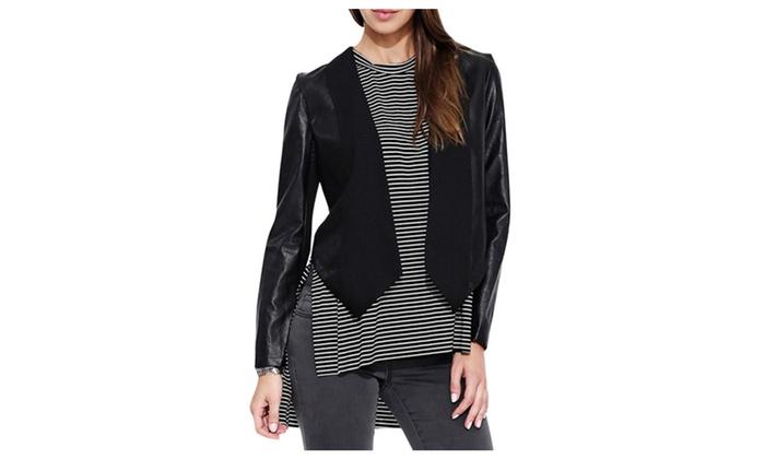 DPN Women's Casual Punk Style Asymmetric Outerwear Blazer