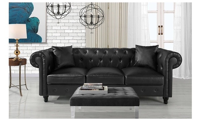 Wondrous Classic Living Room Bonded Leather Scroll Arm Chesterfield Lamtechconsult Wood Chair Design Ideas Lamtechconsultcom