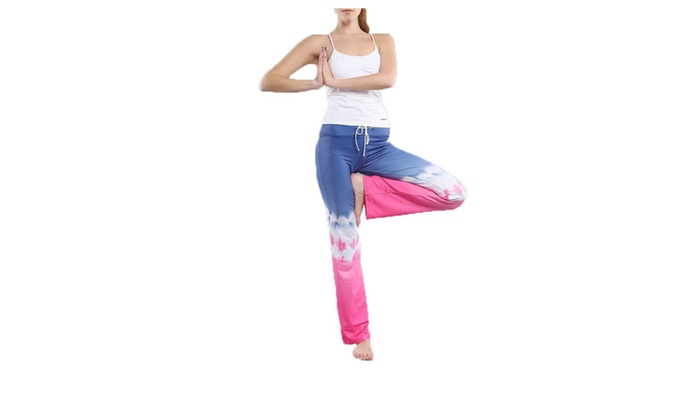 Women's Mid Rise Casual Loose Colorblock Fitness Clothing Pants