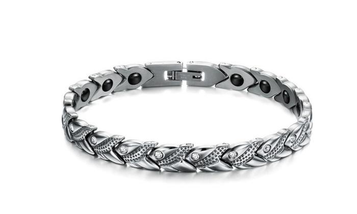 Health Energy Stone Cz Crystal Magnetic Bracelet For Women