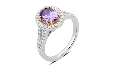 Amethyst & White Sapphire Split Shank Halo Ring Sterling Silver Fashion Jewelry