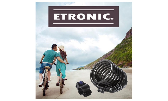 Etronic Bike Lock M6 Self Coiling Resettable Combination, 6' x 3/8""