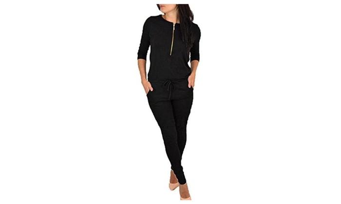 Women's Round Neck Front zip Long Sleeve Fleece Lined Jumpsuit Romper