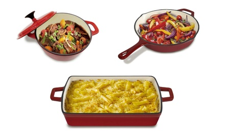 Heavy-Duty Cast Iron 2.1 Qt. Frying Pan, 3 Qt. Dutch Oven, or 3.9 Qt. Baker