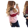 Women's Oversized 1/2 Zip Knit Striped Pullover Sweater Slim Fit Tops