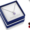 Sterling Silver Round Cut Gemstone Birthstone Necklaces by MUIBLU GEMS