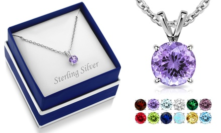 Sterling Silver Round Cut Gemstone Birthstone Necklaces with Gift Box by MUIBLU GEMS