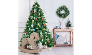 Costway 6FT PVC Artificial Christmas Tree 1000 Tips Premium Hinged