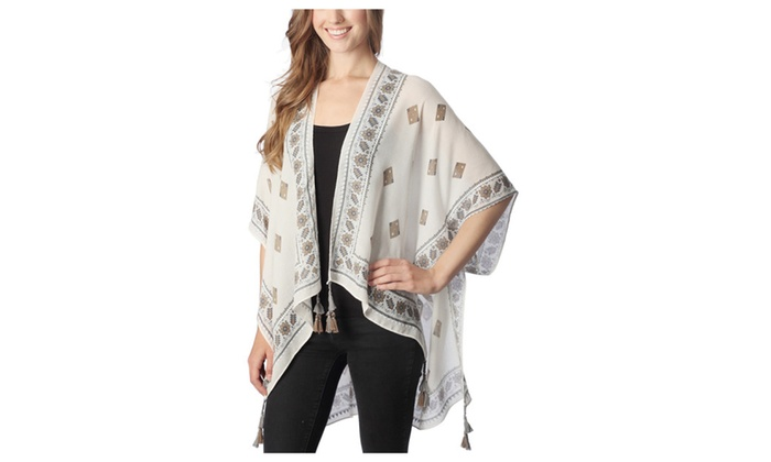Women's Patterned with Tassel Design Spring Summer Poncho