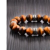 Men's Stainless Steel Natural Gemstone Beads Stretch Bracelet - 8 in