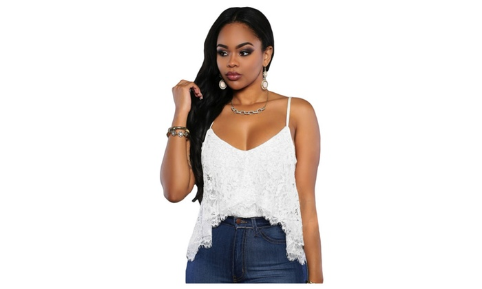 Women's White Irregular Layered Floral Lace Club Top