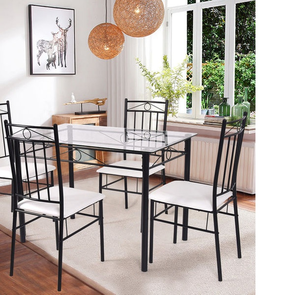 Charmant 5 Piece Dining Set Glass Metal Table And 4 Chairs Kitchen Breakfast  Furniture