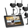 """7"""" Wireless LCD CCTV Night Vision Monitor Security System w/ 4 Cameras"""