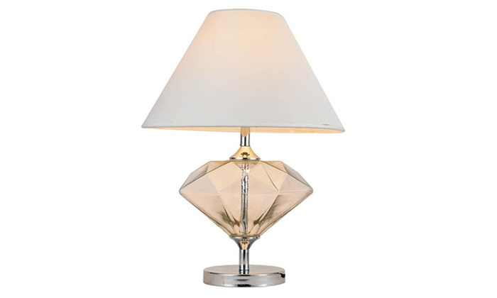 Clear Glass Diamond Shaped Table Lamp With White Shade