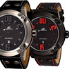 Adee Kaye Mens Sporty 10 ATM Stainless Steel & Leather Watch