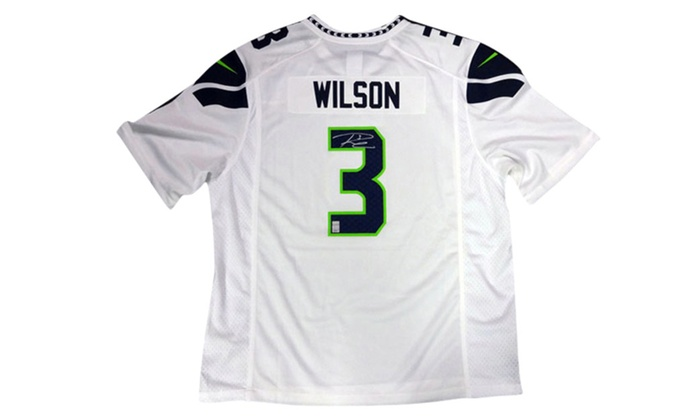 the latest b0010 4492f Autographed Russell Wilson Seattle Seahawks White Nike Jersey