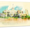 Washington Panoramic View Watercolor Metal Wall Art 28x12