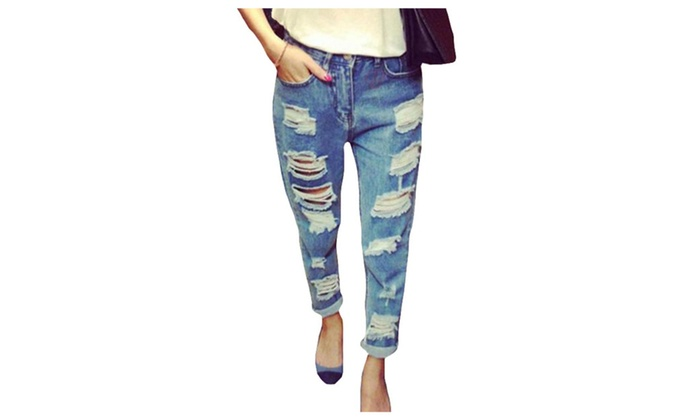 Women's Mid-Rise Slim Fit Straight Cutwork Jeans Jeans