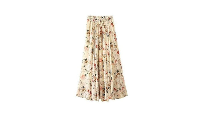 Shmily Girl Women's Pleated Chiffon Skirt Beach Long Skirt Casual Skirt