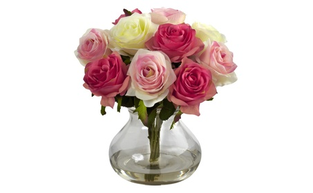 Nearly Natural Rose Arrangement With Vase afe531e1-bb7b-486d-b31c-f72092dc4561