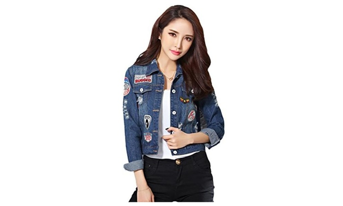 Women's Juniors Badge Patch Hole Lapel Washed Denim Jacket Short Slim - Dark Blue / Asian XL