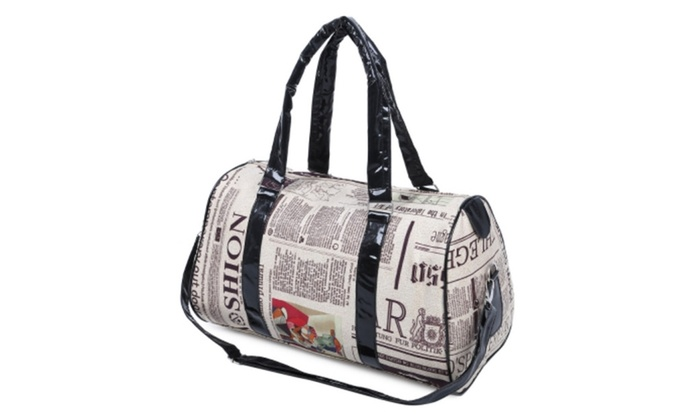 Casual Zipper Design and Newspaper Printing Handbag/Slanting Bag