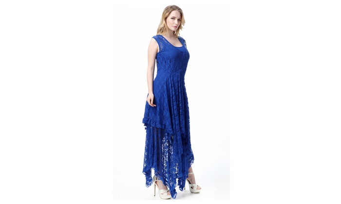 Women Round Neck Long Sheer Lace Courtship Slip Dress – ZWWD378