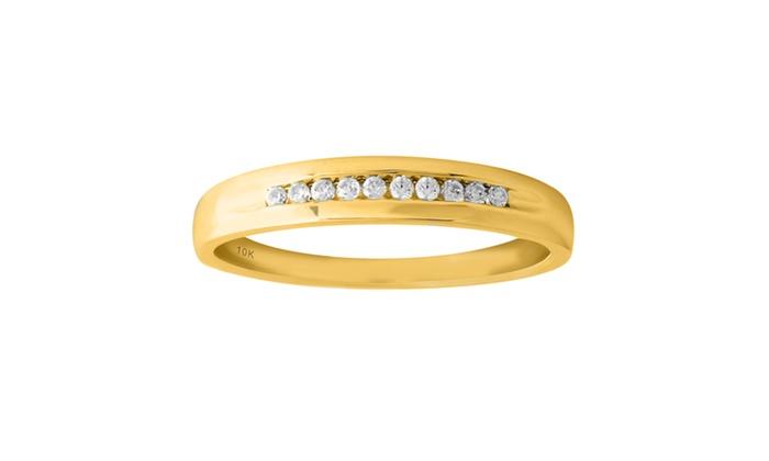 10K Yellow Gold 18cttw Men Diamond Wedding Ring Groupon