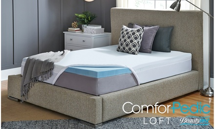 """ComforPedic Loft from Beautyrest 3"""" Cooling Gel Memory Foam Topper with Cover"""
