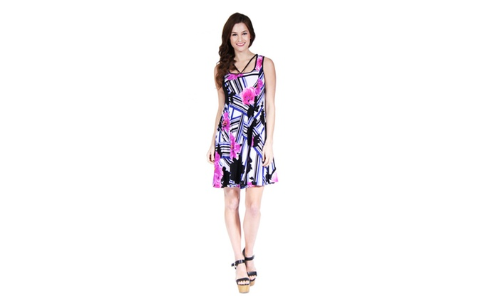 Women's Abstract Neckline Floral Stripe Printed Dress