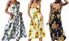 Women's Midi Dress Summer Spaghetti Strap Sundress Floral Backless Button Up