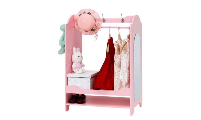 Kid Size Dress Up Unit Pretend Play Clothes Organizer Closet W Mirror