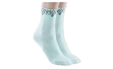 Womens Malva Cotton Ankle Dress Socks, Baroque Pattern Trim 262317ba-5752-47a4-85ec-945026ac3b97