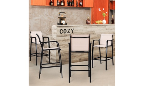 4 PCS Counter Height Stool Patio Chair Steel Frame Leisure Dining Bar
