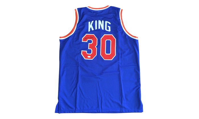 the latest ed150 89a7c Autographed Bernard King New York Knicks Custom Jersey Blue FHS99