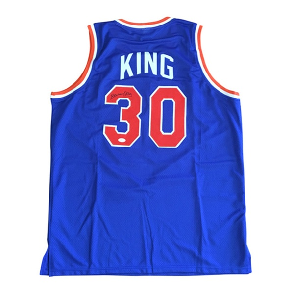 the latest 83ffc 8ebf4 Autographed Bernard King New York Knicks Custom Jersey Blue FHS99