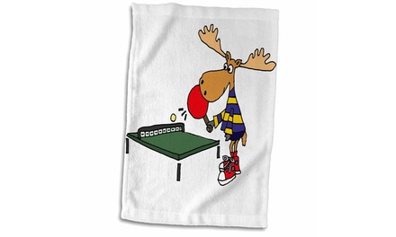 Towel - Funny Moose Playing Table Tennis or Ping Pong Cartoon - 15 by 22-inch