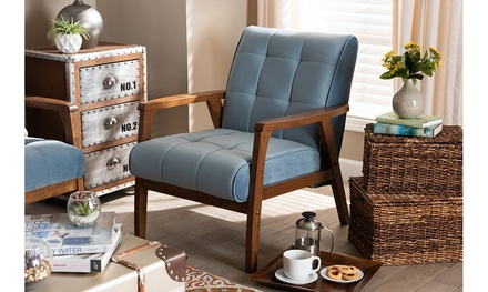 Asta Blue Velvet Fabric Upholstered Walnut Wood Armchair