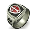 Titanium Knight Shield Red Armor Stainless Steel Cross Ring