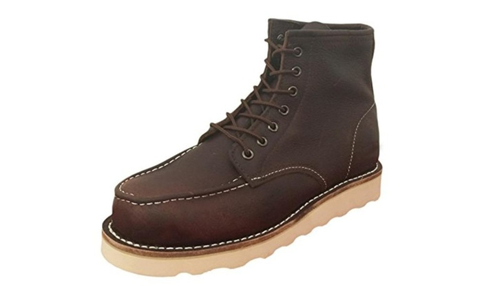 Men's Boots Classic Wedge Tred Sole Lace up Casual Work Shoes - Brown / 7 D(M) US