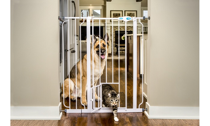 Extra Tall Walk Through Gate With Small Pet Door Groupon