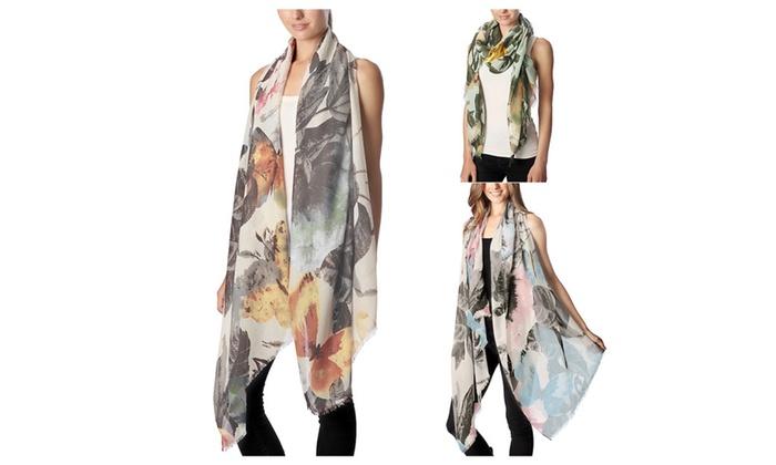 Women's Floral Art Print Oblong Lightweight Spring Scarf