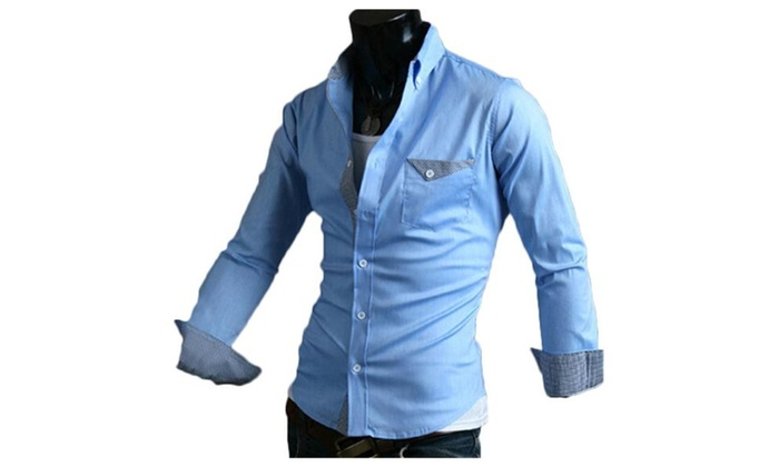 Men's Casual Slim Contrast Long Sleeves Lapel Shirts