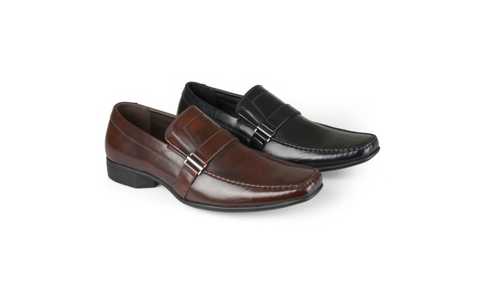 Vance Co. Mens Square Toe Faux Leather Loafers